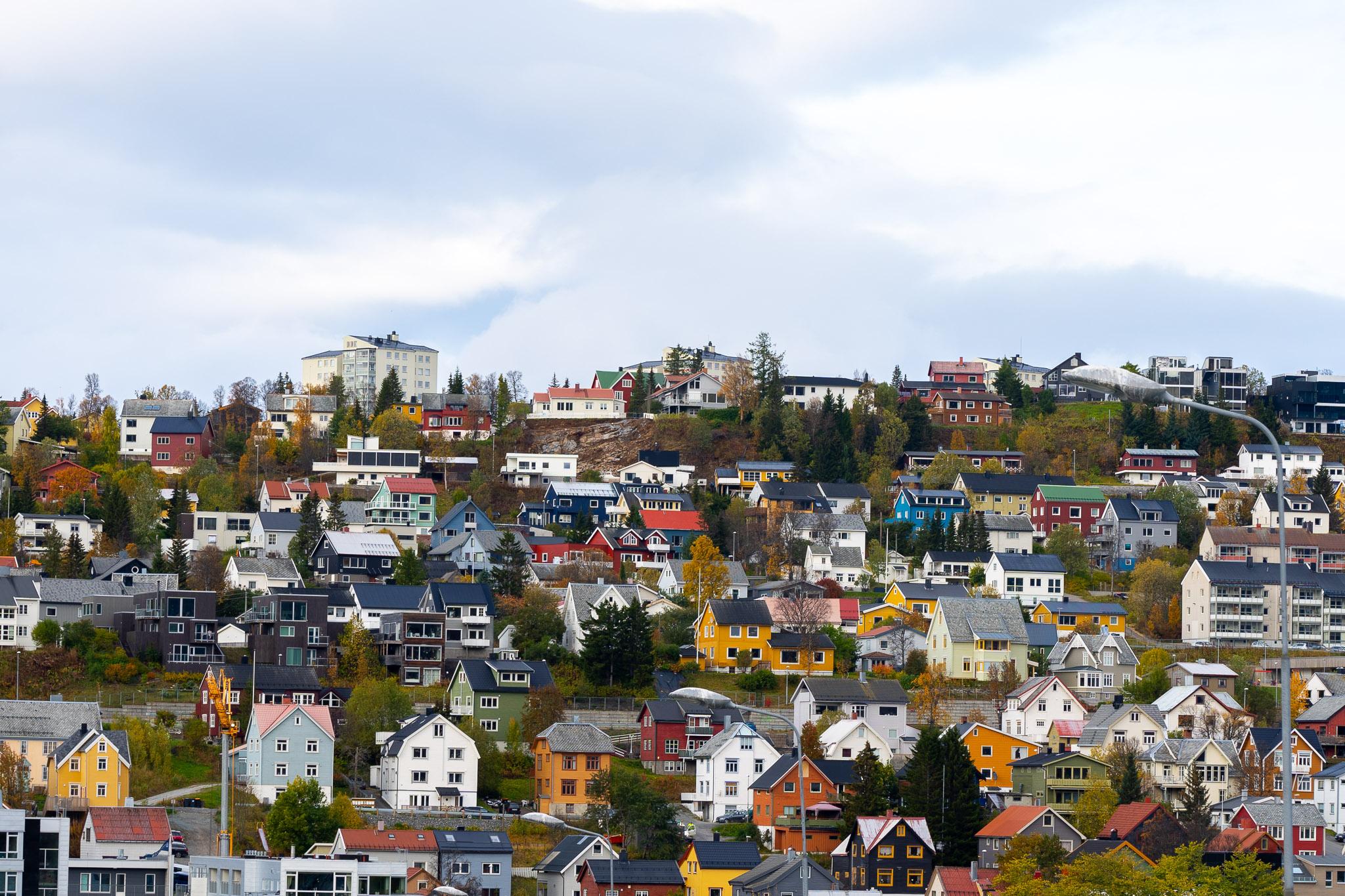Farbige Häuschen in Tromsø